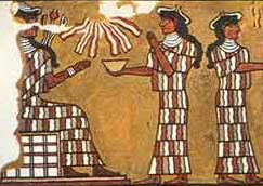Inanna attended by Igigi; painting from Mari, Sumer
