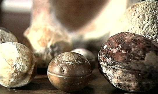 """Over 200 metallic spheres have been found in South Africa and are estimated to be 4,500 million years old. There are two types of spheres: """"one of solid bluish metal with white flecks, and another which is a hollow ball filled with a white spongy center"""" (Jimison, 1982)."""