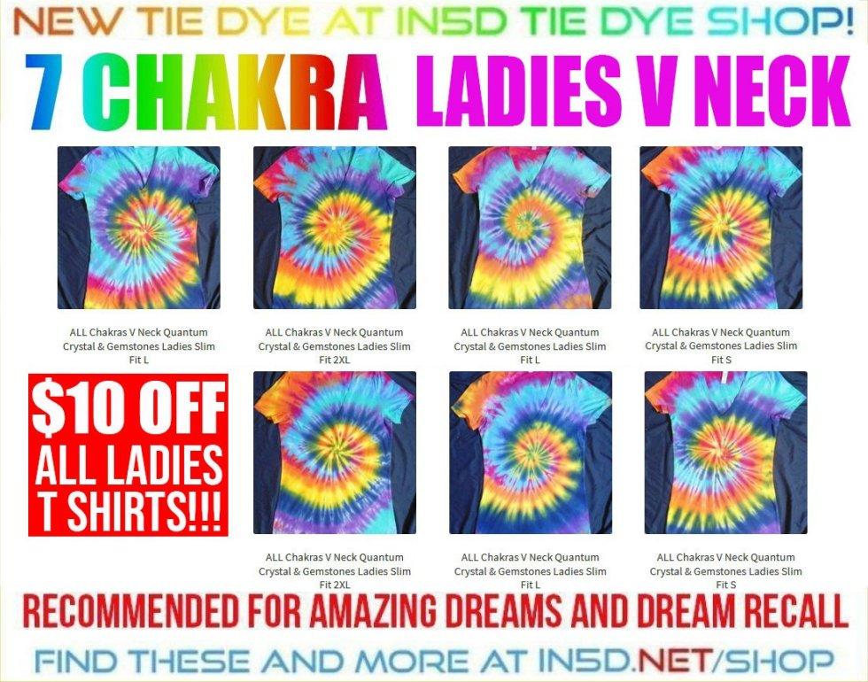 NEW 7 CHAKRA QUANTUM CRYSTAL Ladies V Neck Tie Dye Shirts