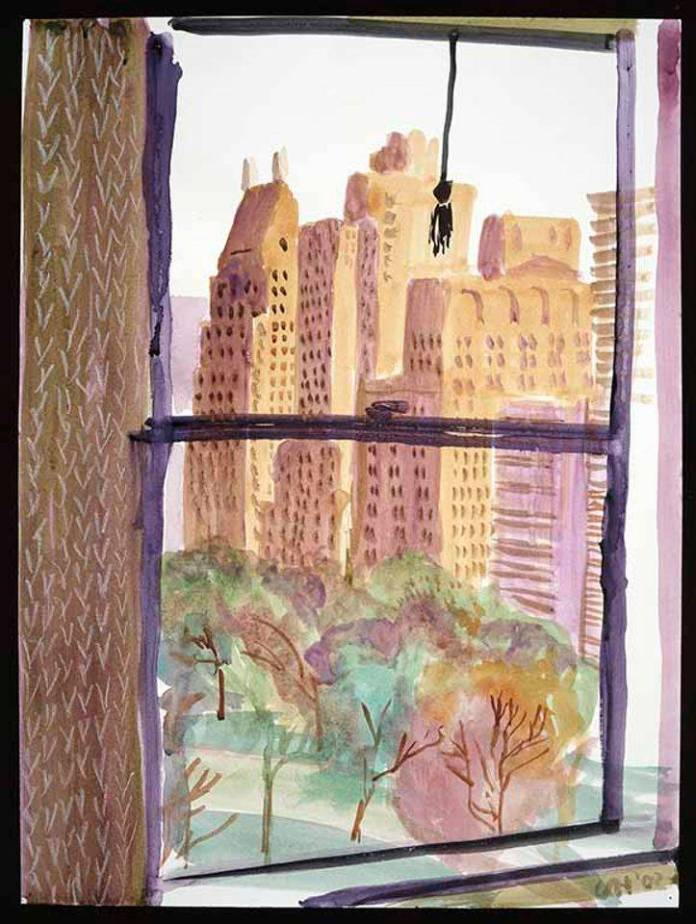 """VIEW FROM MAYFLOWER HOTEL, NEW YORK (EVENING)"" 2002WATERCOLOR"