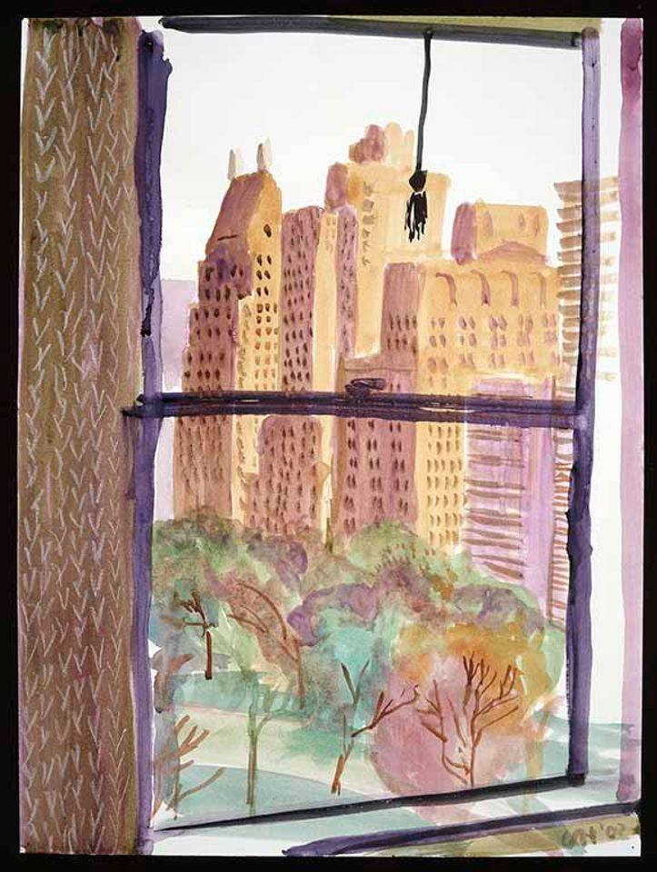 """""""VIEW FROM MAYFLOWER HOTEL, NEW YORK (EVENING)"""" 2002WATERCOLOR"""