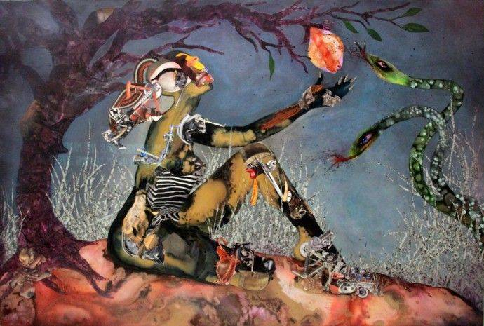 Forbidden Fruit Picker (2015) - Collage painting. Photo: I am Africa
