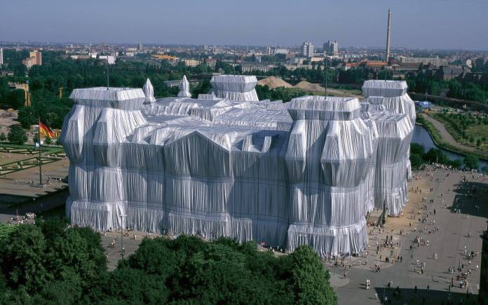 Wrapped Reichstag, 1985. Photo: Wolfgang Volz. Courtesy of Christo and Jeanne-Claude