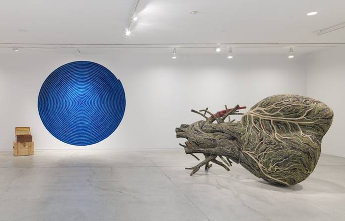 Bharti-Kher-Virus-VII-2016.-Right-Bharti-Kher-An-absence-of-assignable-cause-2007.-Installation-view-BHARTI-KHER-Matter-Vancouver-Art-Gallery-2016.-Photo-Maegan-Hill-Carroll-Vancouver-Art-Gallery