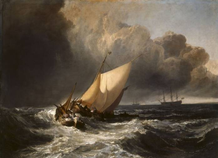 Dutch-Boats-in-a-Gale-1801-oil-on-canvas.-For-his-painting-Turner-drew-inspiration-from-the-art-of-Willem-van-de-Velde-the-Younger-1