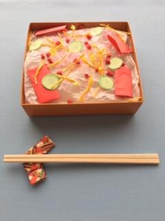 折り紙で作ったちらし寿司の完成