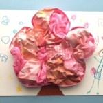 ピンク色を詰め込んだ桜の工作