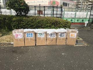 柴島浄水場の桜並木のゴミ箱