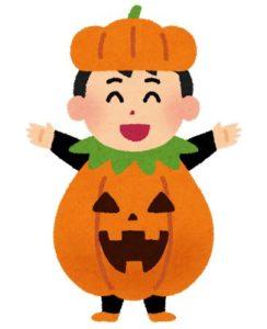 ハロウィンの仮装をする男の子