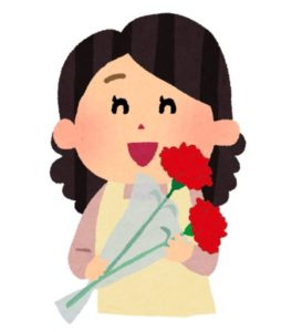 母の日にお母さんにバラをプレゼント