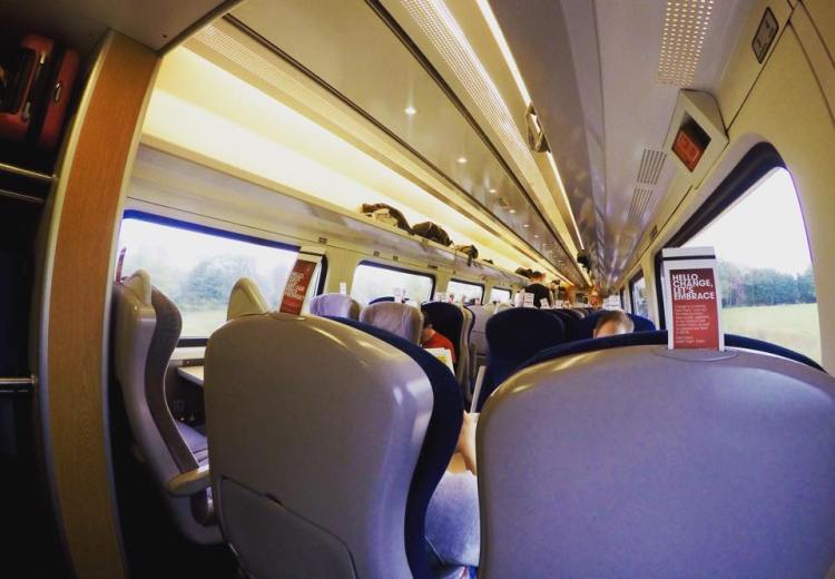 Inside Standard class of Virgin Trains to York