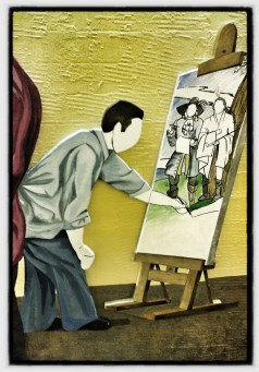 Artist recreating a Revolutionary Era scene