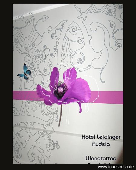 Wandtattoo, Wandgestaltung mit Mohnblume und Orchidee
