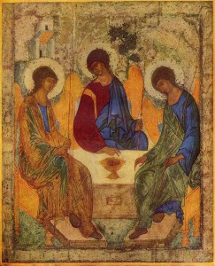 Russian Icon of the Old Testament Trinity by Andrey Rublev, between 1408 and 1425