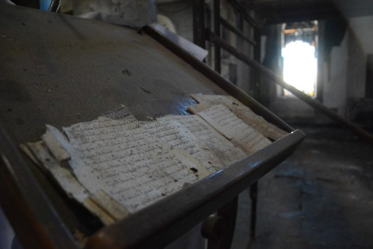 Used with permission. Inside a church burned by the Islamic State, the remains of a book written in Aramaic, the language of Christ. (Qaraqosh, Iraq)