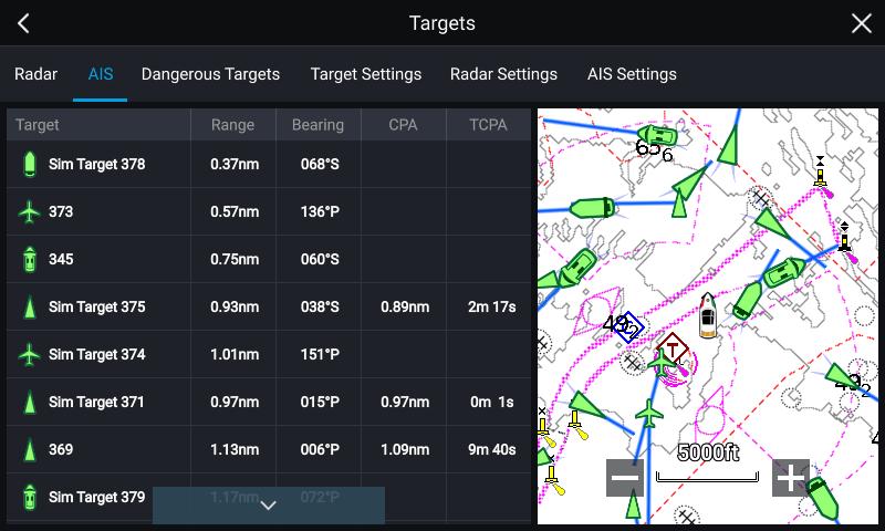 AIS700 Targets Menu