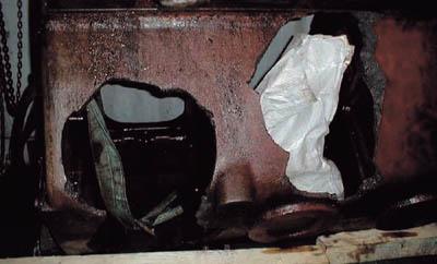 Damaged engine bed plate