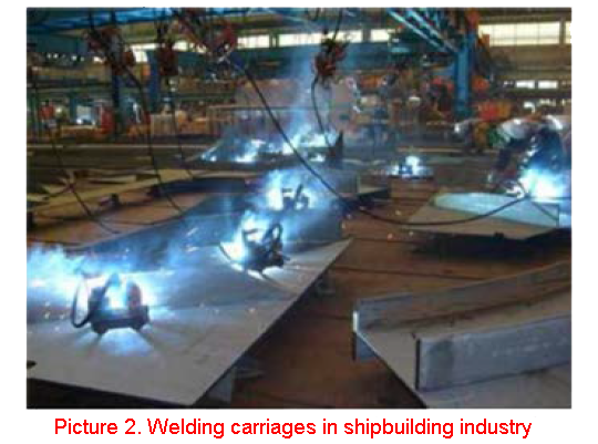Welding carriages in shipbuilding industry