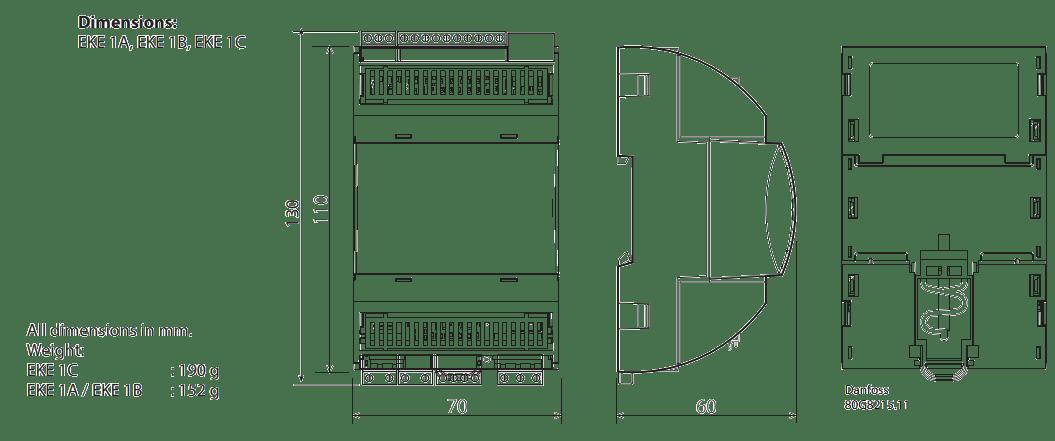 Superheat controller type EKE 1A, EKE 1B, EKE 1C Dimensions