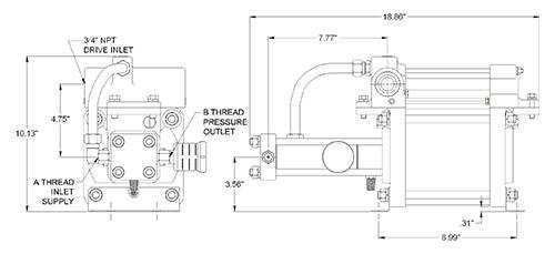 SC Hydraulic Gas Booster Dimension