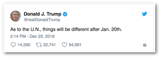 President Trump Tweets things will be different at the UN in January