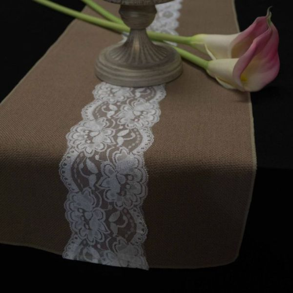 Hessian and Lace Table Runner 7