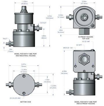 Dimension Piston Flow Meter P001