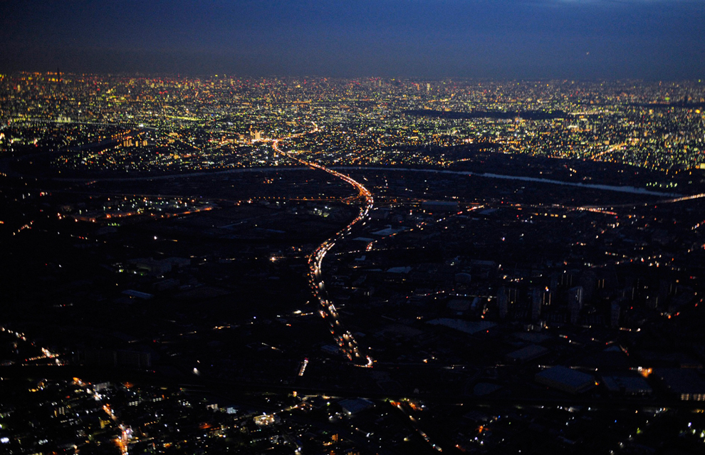 Rolling blackouts in Tokyo; picture from the Boston Globe