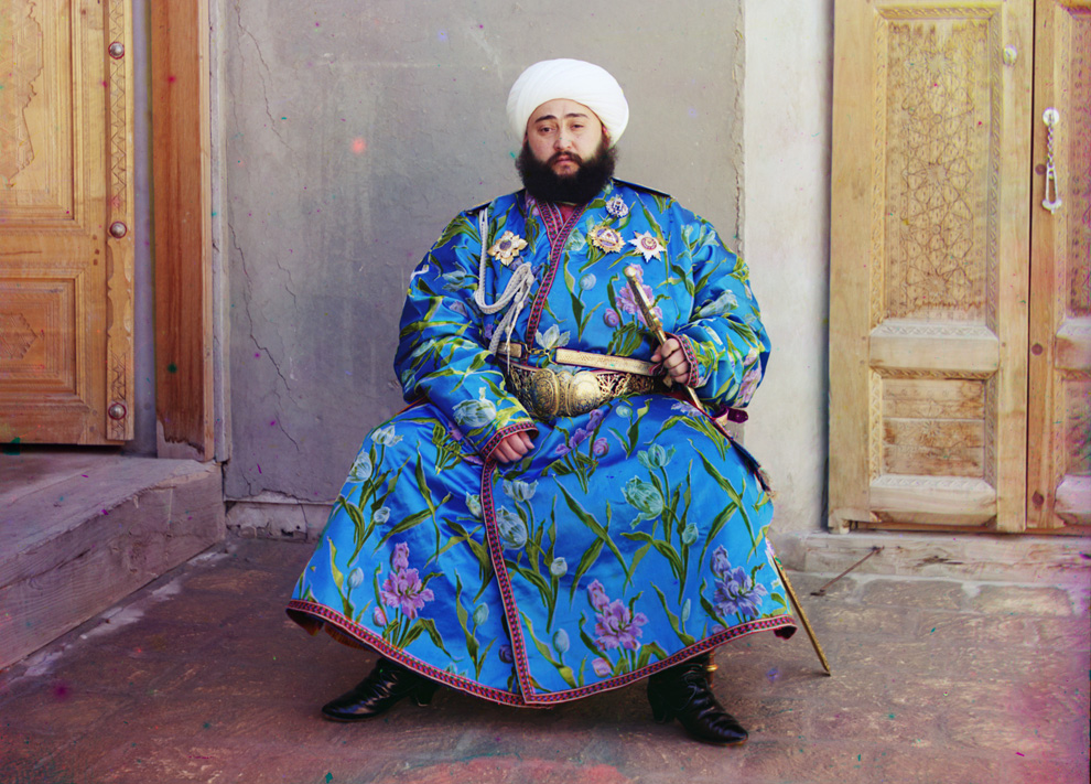 The Emir of Bukhara, in present-day Uzbekistan, 1910.