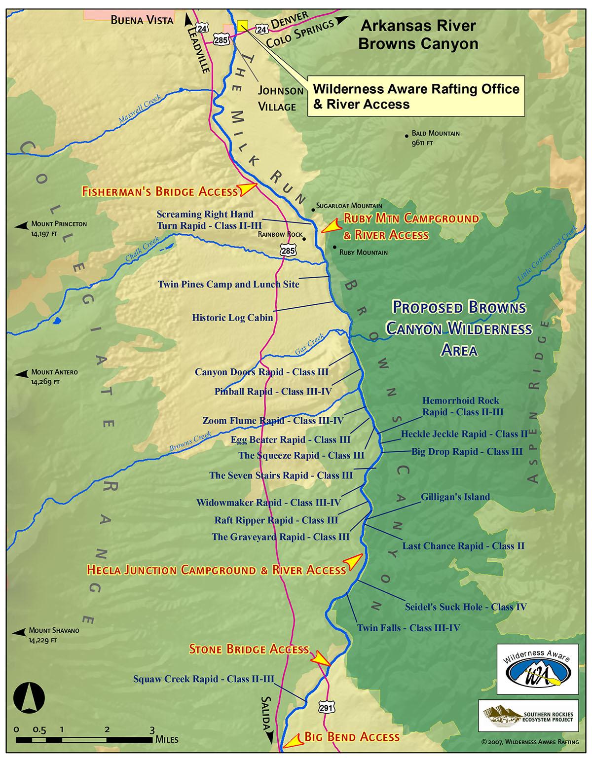 Browns Canyon Map : browns, canyon, Arkansas, River, Rafting, Colorado, Sections, Rapids