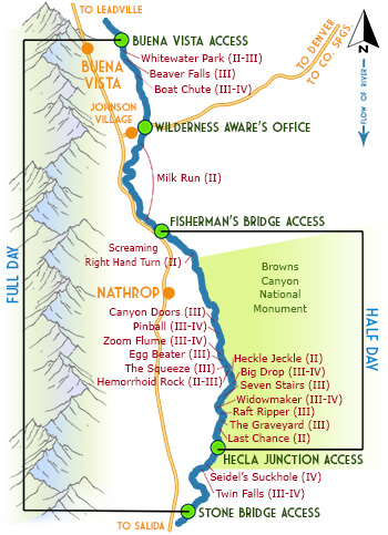 Browns Canyon Map : browns, canyon, Trips, River, Rafting, Colorado, Wilderness, Aware