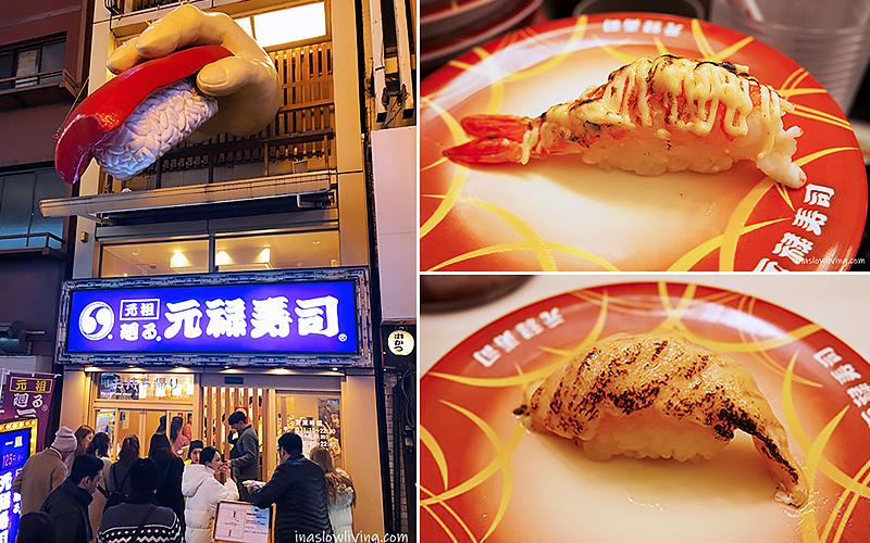 大阪美食 道頓堀味美價廉迴轉壽司:元祿壽司     依娜的漫慢拾旅