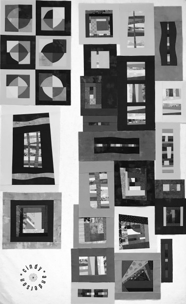Mystery QAL Day 8, Design Wall in Mono Tones