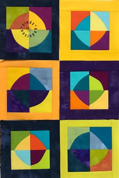 Mystery QAL Day 8, Improv (Wonky) Circle Blocks