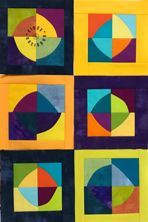 Mystery QAL Day 8, Improv (Wonky) Circle Blocks