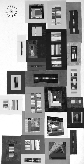 Mystery QAL Day 9, Design Wall in Mono Tones