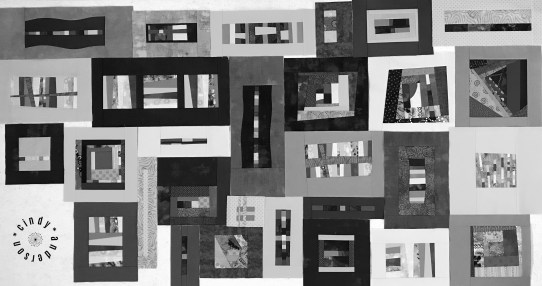 Mystery QAL Day 10 Design Wall in Mono Tones