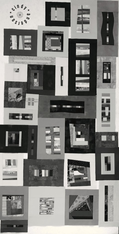 Mystery QAL Day 10, Design Wall in Mono Tones