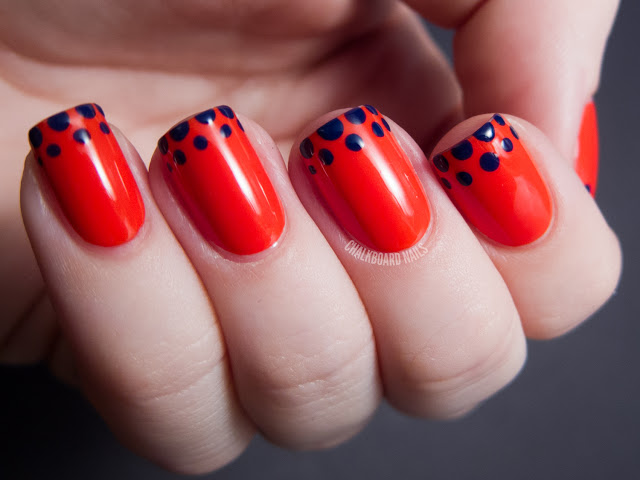 Simple Nail Art Red And Black