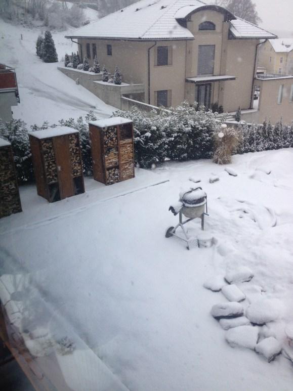 So hats noch diesen Winter ausgesehen. Schneebedeckte Erdberge.