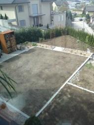 So sieht es nun aus. Der Rasen ist angebaut. Der Schotter fehlt noch.