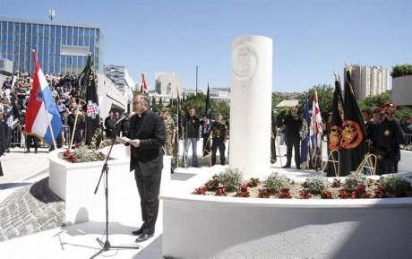 Monument to the HOS 9th Battalion Rafael Vitez Boban raised in Split, Croatia - 9 May 2014