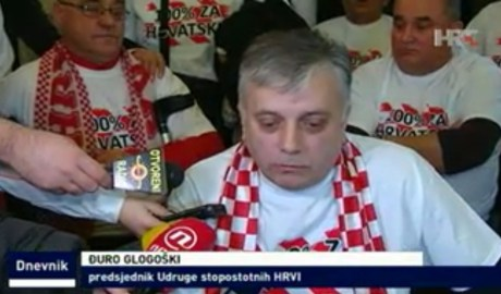 Front: Djuro Glogoski, invalid war veteran one of the leaders of Croatian War Veterans Protest Photo: Screenshot hrt.hr news 29 January 2015