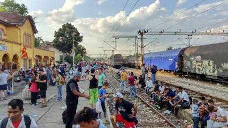Train station in Gevgelija, Macedonia Refugees and illegal migrants wait transportation