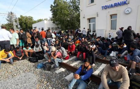 Tovarnik, Croatia September 2015 Refugees from Middle east await transportation for the next border