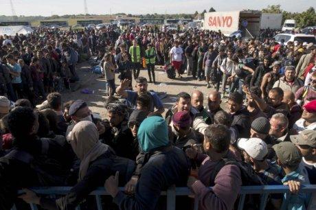 Migrants and refugees at camp Opatovac Croatia Saturday 17 October 2015