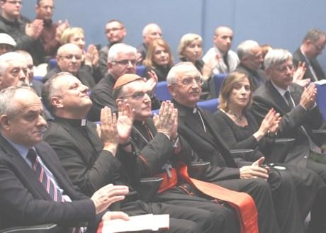 Zagreb Croatia 24 November 2015 From Right: Zeljko Reiner, Croatian parliamentarian, dr Esther Gitman, historian and author, Archbishop Zelimir Puljic, Croatian Bishops' Conference, Cardinal Josip Bozanic and Zeljko Tanjic, Rector Croatian Catholic University Photo: B. Covic