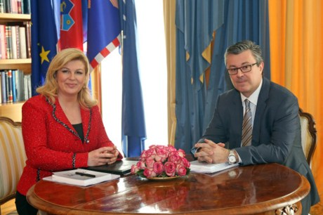President Kolinda Grabar-Kitarovic and CRoatia's Prime Minister Tihomir Oreskovic January 2016 Photo: HINA/ Damir SENČAR /ds