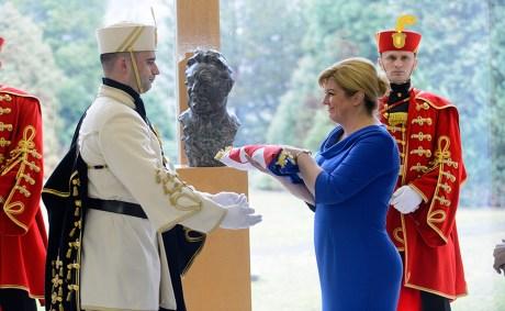 President of Croatia Kolinda Grabar-Kitarovic Unveils the bust of Franjo Tudjman among Croatian greats 19 February 2016 Photo: Goran Mehkek / CROPIX