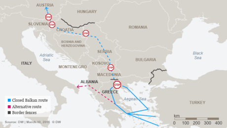 Closed Balkan Route March 2016 Photo: DW
